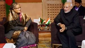 India Prime Minister Narendra Modi meets Bangladesh Sheik Haseena