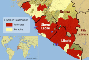 Ebola transmission representation on map