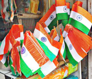 Plastic Indian national flags