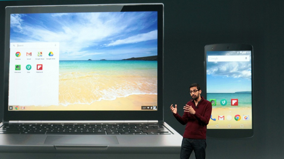 Sundar Pichai, Manager of Google, presents new version of Google Chrome integrated with Android