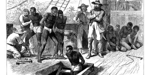 Captives being brought on board a slave ship on the West Coast of Africa (Slave Coast), c1880.