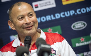 Japan's head coach Eddie Jones delivers