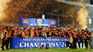 Sunrisers Hyderabad with IPL trophy