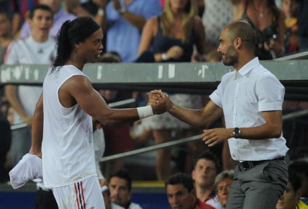 Guardiola insists he did not push Ronaldinho out of Barcelona as the Barca veteran returns to the club