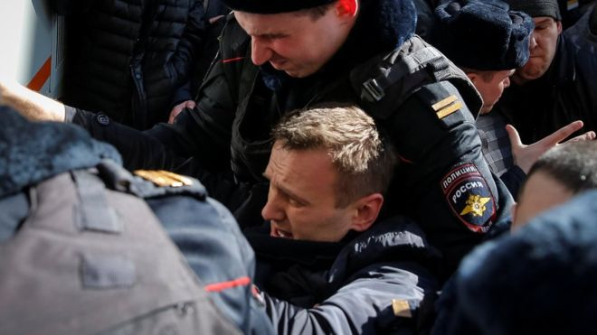 Russia Opposition leader Alexei Navalny detained
